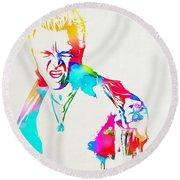 Billy Idol Watercolor Paint Round Beach Towel
