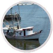 Bilouxi Shrimp Boat Round Beach Towel by Cynthia Powell