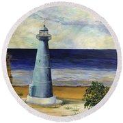 Biloxi Lighthouse Round Beach Towel
