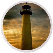 Biloxi Lighthouse Round Beach Towel by Scott Pellegrin