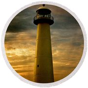 Biloxi Lighthouse - Sunrise Round Beach Towel