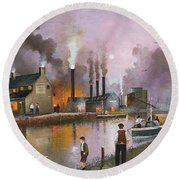 Round Beach Towel featuring the painting Bilston Steelworks by Ken Wood