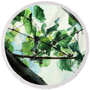 Biltmore Grapevines Overhead Round Beach Towel