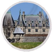 Biltmore House - Side View Round Beach Towel