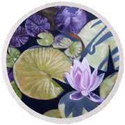 Round Beach Towel featuring the painting Biltmore Lilypads by Robert Decker