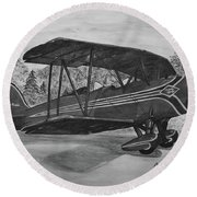 Biplane In Black And White Round Beach Towel by Megan Cohen