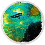 Round Beach Towel featuring the digital art Biplane by Iowan Stone-Flowers