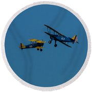 Biplanes Near Collision 5x7 Round Beach Towel
