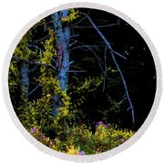 Birch And Vines Round Beach Towel