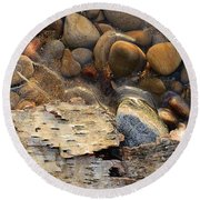 Birch Bark And Ice In The Creek Four  Round Beach Towel