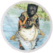 Birch Bark Canoe Round Beach Towel