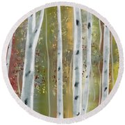 Round Beach Towel featuring the digital art Birch Forest by Paula Brown