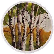 Birch Round Beach Towel by Marilyn Jacobson
