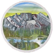 Birch Mountains Round Beach Towel