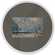 Birch Snow Round Beach Towel