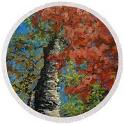 Birch Tree - Minister's Island Round Beach Towel