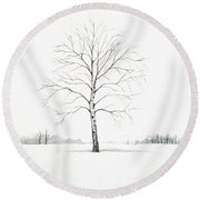 Birch Tree Upon The Winter Plain Round Beach Towel