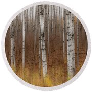 Birch Trees Abstract #2 Round Beach Towel