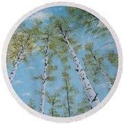 Birch Trees And Sky Round Beach Towel