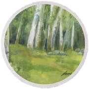 Birch Trees And Spring Field Round Beach Towel