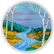 Birch Trees And Stream Round Beach Towel