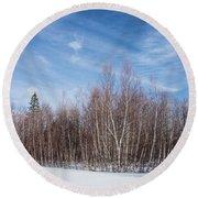 Birch Trees And Snow Round Beach Towel