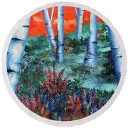 Birch Trees At Sunset Round Beach Towel