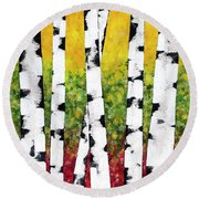 Round Beach Towel featuring the mixed media Birch Forest Trees by Christina Rollo