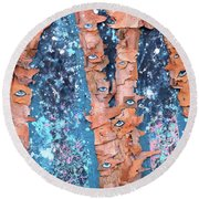 Round Beach Towel featuring the mixed media Birch Trees With Eyes by Genevieve Esson