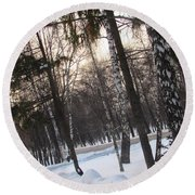 Birches And Firs Round Beach Towel