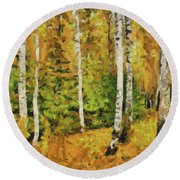 Birches And Spruces Round Beach Towel