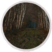 Birches At Blue Hour Round Beach Towel