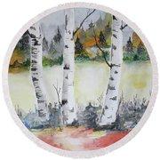 Birches Round Beach Towel