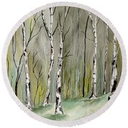 Birches Before Spring Round Beach Towel