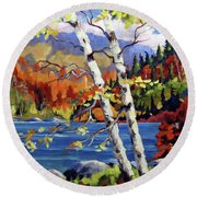 Birches By The Lake Round Beach Towel