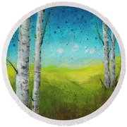 Birches In Green Round Beach Towel