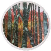 Birches In The Fall Round Beach Towel