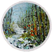 Round Beach Towel featuring the painting Birches Near Waterfall by AmaS Art