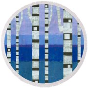 Birches With Blue And Lavender Round Beach Towel