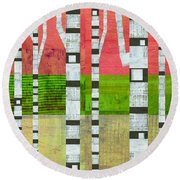 Birches With Green And Cream Round Beach Towel