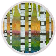 Birches With Olive And Orange Round Beach Towel