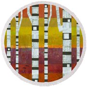Birches With Purple And Gold Round Beach Towel