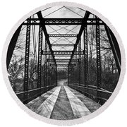 Bird Bridge Black And White Round Beach Towel