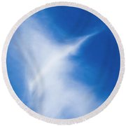 Round Beach Towel featuring the photograph Bird Cloud by Yulia Kazansky