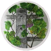 Round Beach Towel featuring the painting Bird Condo by Jack G Brauer