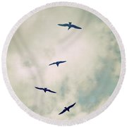 Round Beach Towel featuring the photograph Bird Dance by Lyn Randle