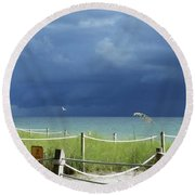 Bird Flies Over Captiva Round Beach Towel