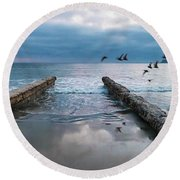 Bird Flight Round Beach Towel