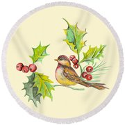 Bird Holly And Berries Round Beach Towel