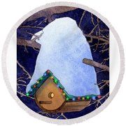Bird House Christmas Round Beach Towel